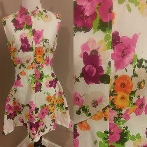Vintage 60s 70s Flower Power Hippie Mini Dress